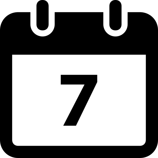 Kalendarz 7 icon. This icon is of a calendar page with a number 7 on it that symbolizes the date. The logo is in black and white and does not include any other details.