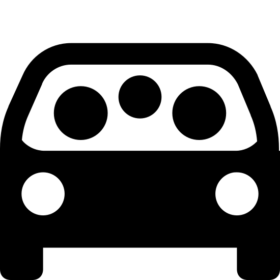 Carpool icon. This is an image of a car facing towards the viewer.  In the windshield of the car are three circular shapes representing people.  The car also contains headlights, side mirrors and tires.
