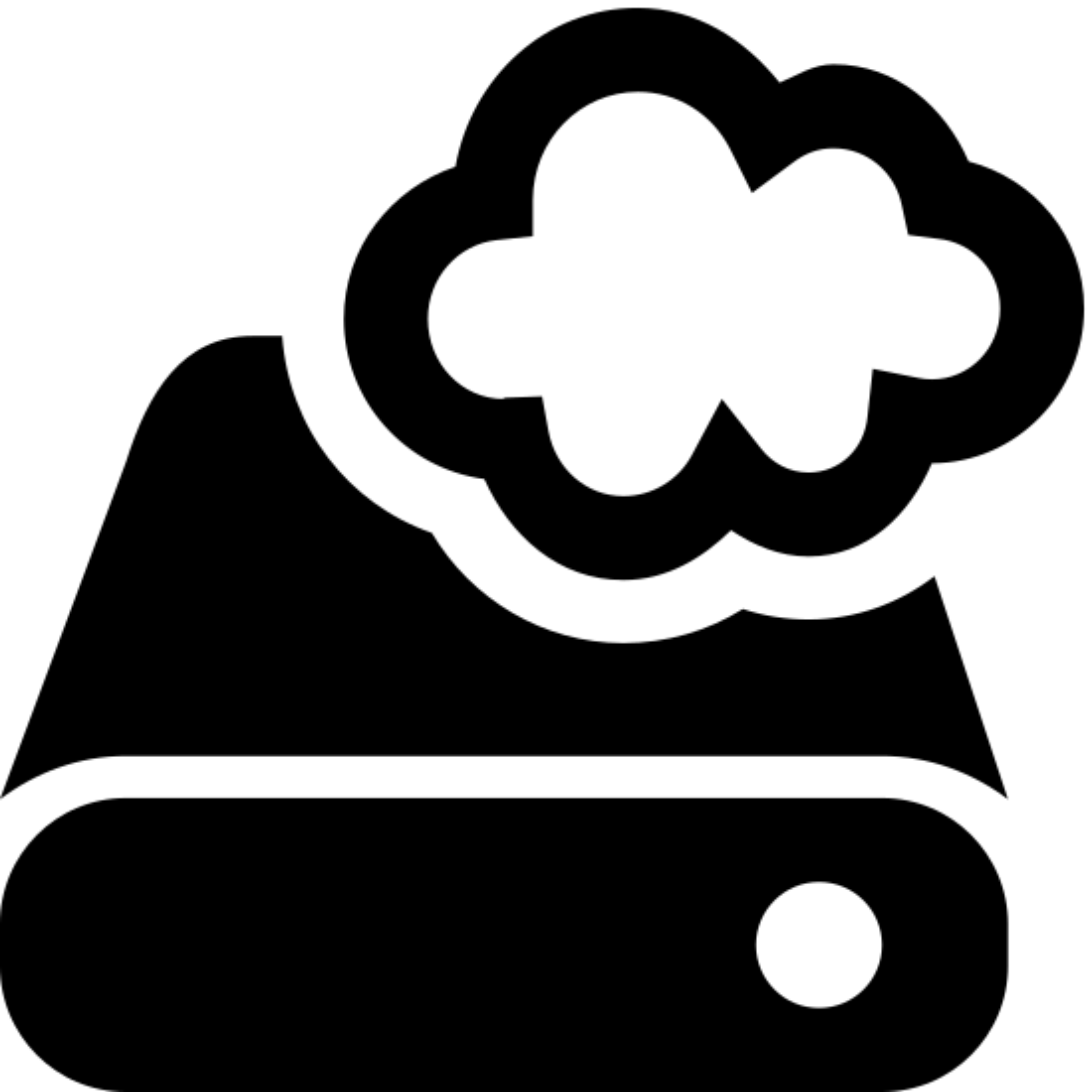 クラウドストレージ icon. This icon is a rectangular shape meant to represent an external hard drive. There is a little circle in the front right corner that represents the power light, and there is a small cloud shape hovering just above the back of the hard drive.