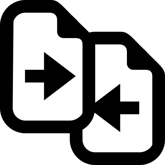 Porównaj icon. This icon shows two pieces of paper dog-eared on the top right corner, and slightly overlapping each other. The leftmost page is in the forefront and features an arrow pointing to the right. The page in the background has an arrow facing to the left.