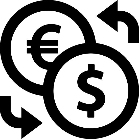 Cambio de divisas icon. The icon shows two circles, the one at the bottom right overlapping the one at the top left. Inside the top left circle is a C shape with two horizontal lines running through it, the bottom right circle has a dollar sign in it. The bottom left and top right near the circles are two curved arrow pointing to them.