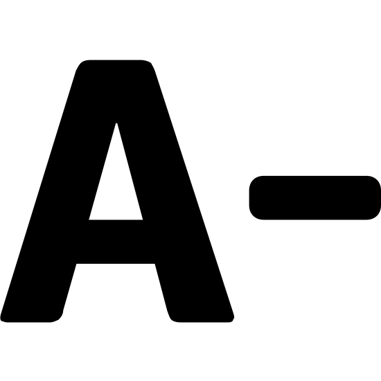 """Zmniejsz czcionkę icon. It's a traditional capital """"A"""" symbol, with its narrow top and diagonal sides, followed by the """"minus"""" sign to the right, representing an A minus."""