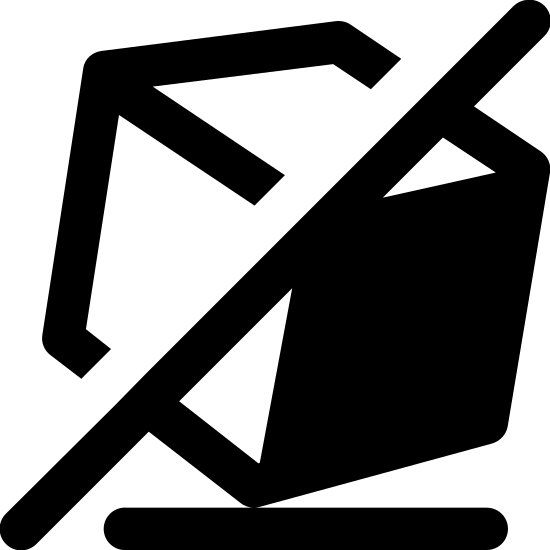 Nie przechylać icon. It is a reduced icon of a three dimensional cube that is tilted on it's side.  The cube has a diagonal line going from the top middle corner to the bottom almost left corner.