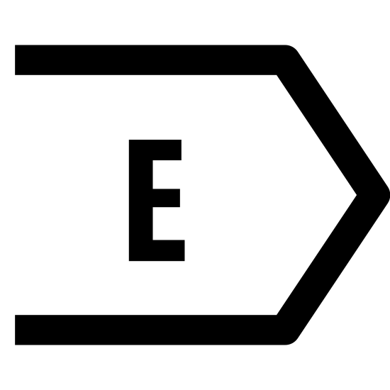 Wschód icon. This is a logo to describe the direction East. In the center of the shape is the capital letter E. The shape it's inside of are two identical long lines on the top and bottom, then two more lines coming to a point.