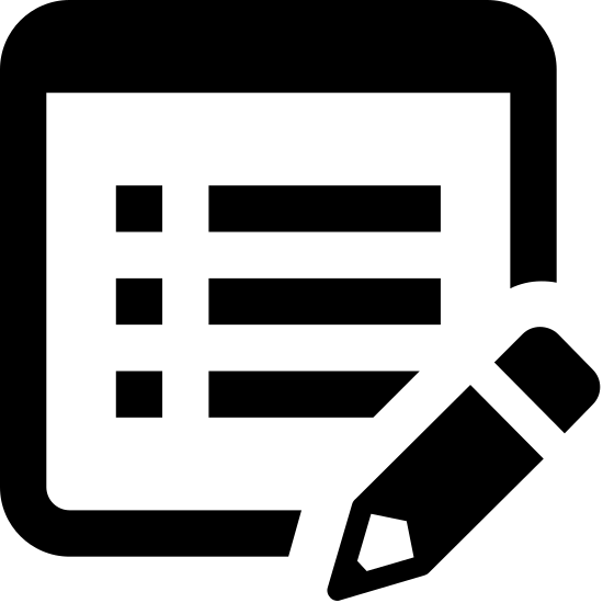 Edytuj obiekt icon. The icon depicts a rectangular chart with bullet points and lines indicating this is a list. In the bottom right portion of the chart is an image of a pencil overlapping the image.