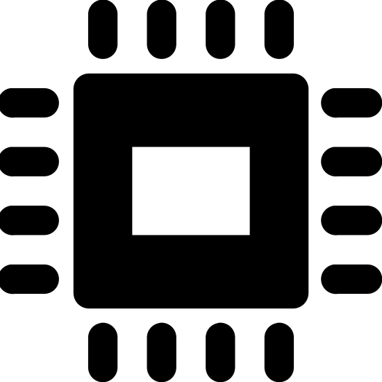 Electronics icon. There is a small square centered inside of a larger one with rounded edges. On the outside of the larger square are five hash marks sticking out perpendicular on each side.