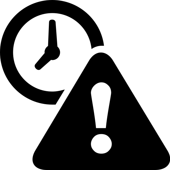 Expired icon. The icon is of two shapes, one triangle shape with an exclamation point in the center of the triangle, and a circular clock shape directly behind it. The clock is positioned behind the triangle in the top left corner.