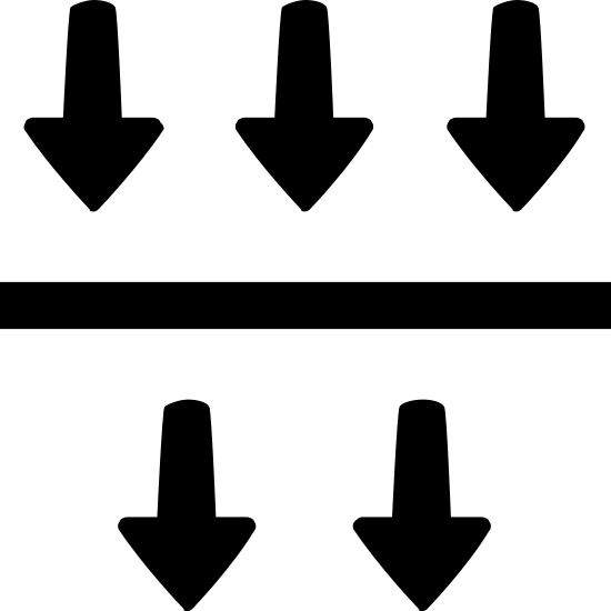 Filtration icon. The icon Filtration is a horizontal line. On top of the line are three arrows, of the same size, pointing down. Under the line are two arrows, of the same size,  pointing down.