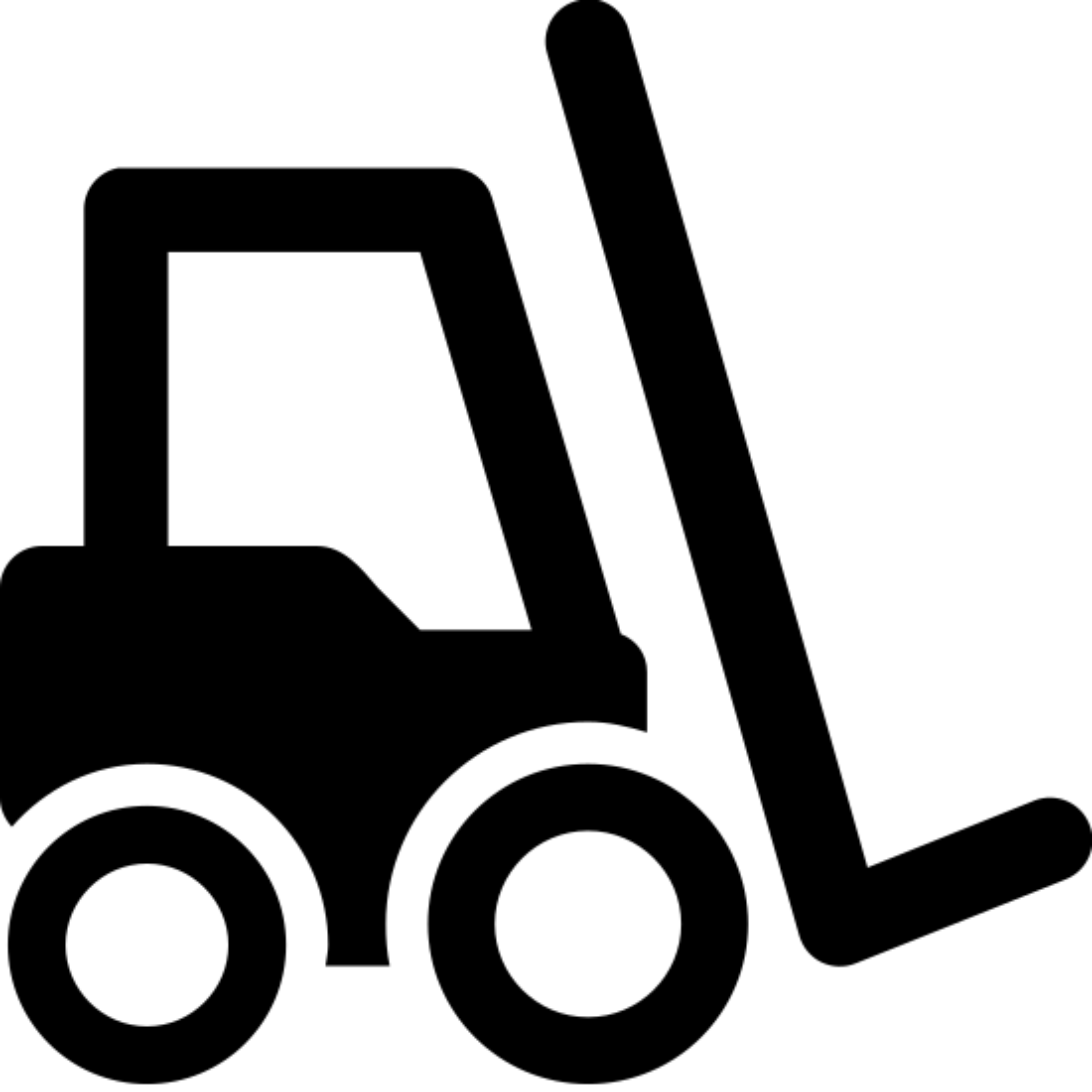 フォークリフト icon. This is a drawing of some sort of machinery that you would find at a construction site. It would be machinery that would be used to lift heavy equipment and there is a lift on the front.