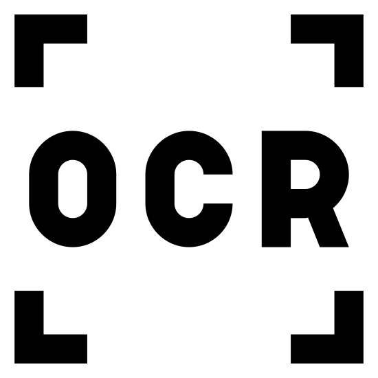 Ogólne OCR icon. It's a logo of four corners of a square with OCR written inside. The square just has blank space for the middle of each side so that only the corners are visible in the image.