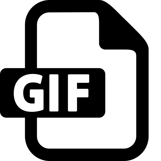 GIF icon. The GIF image's main shape is a rectangle.  The rectangle is taller than it is wide.  The upper right corner of the rectangle has a dog-eared corner a folder over corner, like you would fold the corner of a piece of paper.   In the center of the rectangle are the letters G I F to indicate the item is a GIF file.