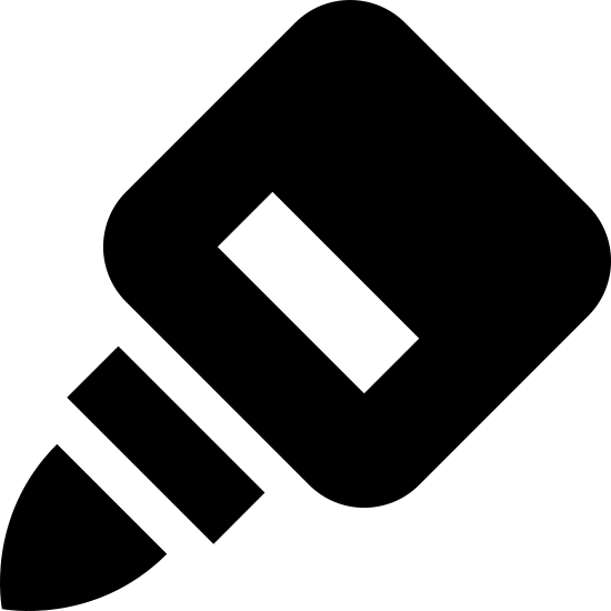 Glue icon. It's a logo to depict glue. There is a curved triangle for the point of the glue bottle and three rectangles make up the body. The glue bottle is pointed downward as if in use and is facing to the left.
