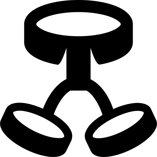 Harness icon. Two flat small cylinders are titled towards each other with lines at the top connected to a vertical rectangle. The vertical rectangle is connected to the bottom center of a much larger flat cylinder.