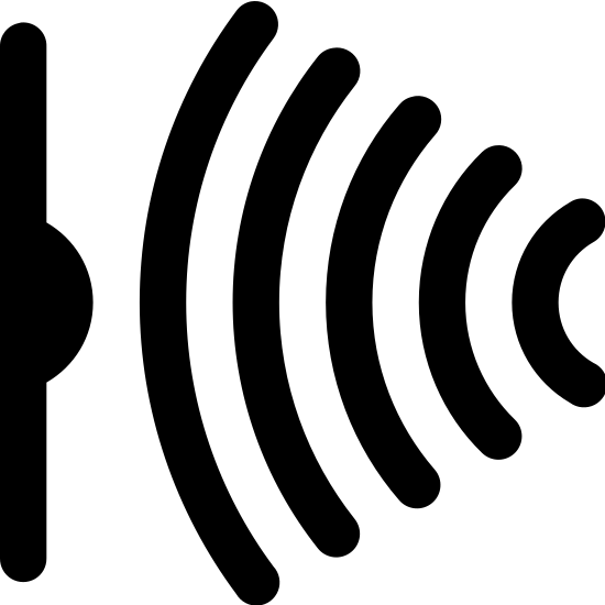 Infrared Sensor icon. The infrared sensor consists of a vertical line with a black semi-circle facing right. This line is on the left side of the icon. On the right are 5 arcs that curve towards the black dot. These lines represent the infrared light.