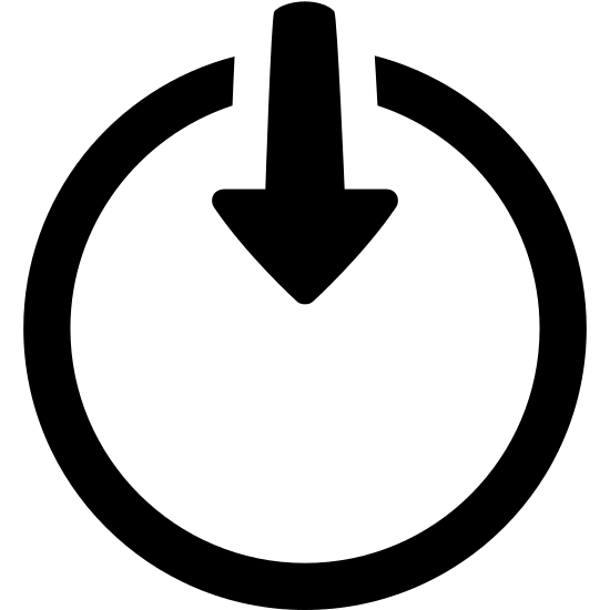 Internal icon. The icon is shaped like a circle but the top of the circle doesn't fully connect. Starting from the open space when the circle doesn't connect is an arrow point down. The tip of the arrow stops at the center of the circle.