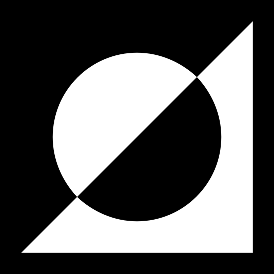 Invert Selection icon. It is a square with a circle inside it. The square has a diagonal line from the bottom-left corner to the top-right corner that splits the square and circle into two triangles with half-circles inside them. The top-left triangle is filled with dots outside of the half-circle, whereas the bottom-right triangle is only filled with dots inside the half-circle.