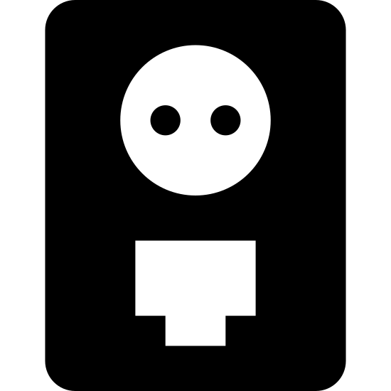 """Powerline icon. This icon """"Lan Over Powerline"""" looks similar to an electrical socket. It's a large rectangle with a height greater than its width. Inside of the rectangle, at the top, is a circle, inside of which are two small holes next to one another. At the bottom of the rectangle is small rectangular shape with three black lines at its top."""