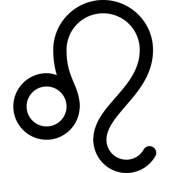 Leo icon. A small circle towards the bottom left, with a tail attached to it. The tail comes from the top right of the circle and curves like a backward S would.