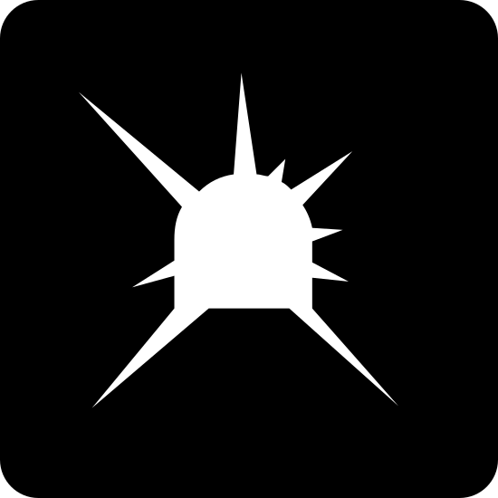 Light at the End of Tunnel icon. This is a picture of a square.  Inside the square, at the center, is a shape that looks like a capital D on its side.  Surrounding that shape are seven unequally sized lines projecting out of it.