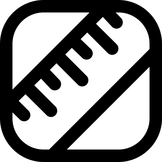 Lipids icon. This icon is depicting a ruler tilted diagonally and towards the right enclosed within a rectangle with rounded edges. The ruler is depicted as two parallel lines with seven lines segmenting it to indicate units of measurement.