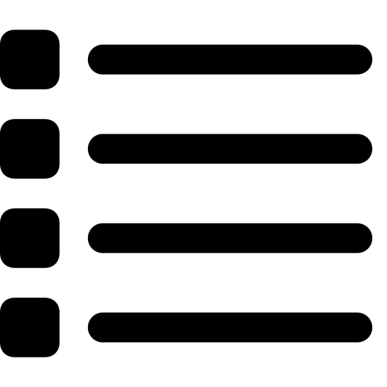 List icon. The icon List is four thick lines, stacked on top of one another with a space between each line. At the beginning of each line is a small square with another smaller lighter square inside it.