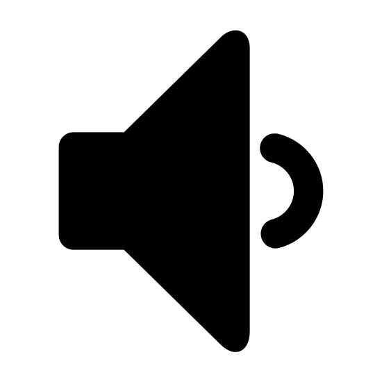 Low Volume icon. The icon looks like a triangle with curved edges laying vertical but the point facing left is missing. It is replaced with a smaller rectangle shape with curved edges. At the base of the vertical triangle which is facing left is a small backwards C shape at the center.