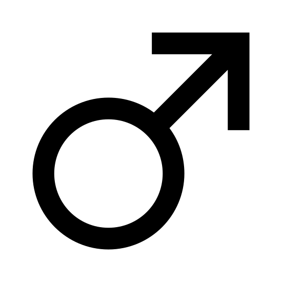 Płeć męska icon. This is a logo that represents the male gender. It is a circle with an arrow pointing to the upper right coming out of the upper right side of the circle.