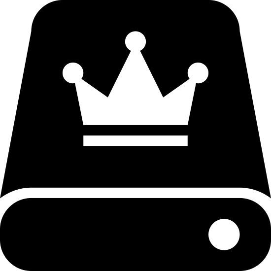 Dysk Master icon. This is a picture of a square with a line going through the bottom of it, horizontally. On the upper part, there is a crown with a line under the crown, and on the bottom, there is a black dot.