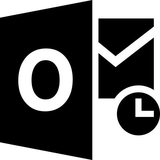 """Microsoft Outlook icon. The icon has three main shapes. A trapezoid with the letter """"O"""" in the center is covering the left side of a square that has two diagonal lines that form a downward """"V"""" shape inside it. A small circle with an """"L"""" shape covers the bottom right corner of the square."""