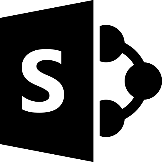 Microsoft SharePoint icon. It is a bold letter S in side a square slanted so that far left side appears to be further back than the near right side. There are two circles evenly spaced attached to the near right side and from then a simi circle is drawn to a 3rd circle of the same size as a point.