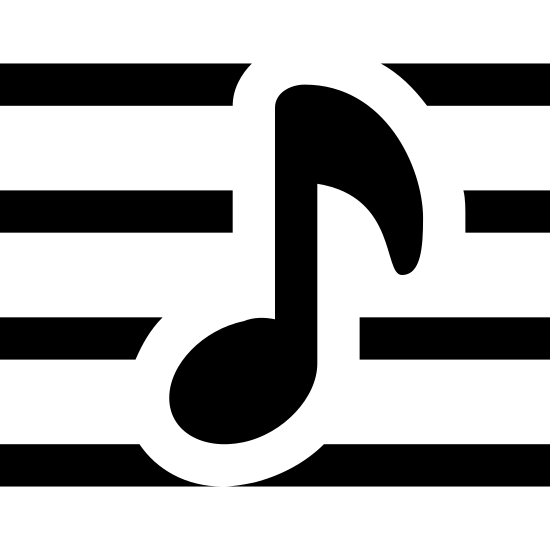 Music Notation icon. At the center of the icon is a musical note that is shaped like an oval at the bottom and is facing left. It is connected to a vertical line that meets a flagged shaped piece that is facing right. There are 3 lines running through the shape and two lines, one at the top and the other below that aren't running through it.