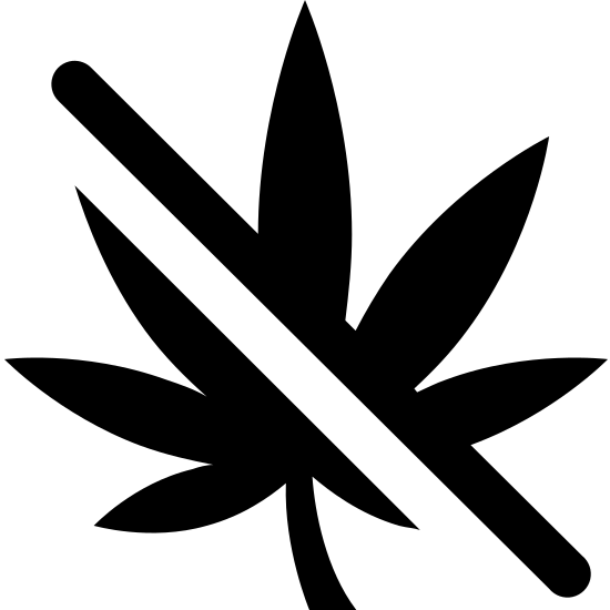 Keine Drogen icon. This icon is depicting the leaf of a marijuana plant with a line drawn through it. The leaf is perfectly symmetrical and contains seven segments that are rounded and pointed towards the end.