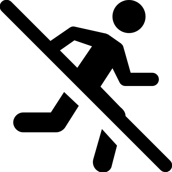 No Running icon. This logo features an outline of a man with a slash through his body. The slash is there to represent a ban against running so that people are aware that they should not run in the area.
