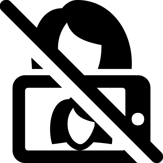 No Selfie icon. There is a woman drawn with a camera phone blocking part of her face. on the screen of the phone we can see the woman's face. there is a large black line through the pick repersenting a no sign