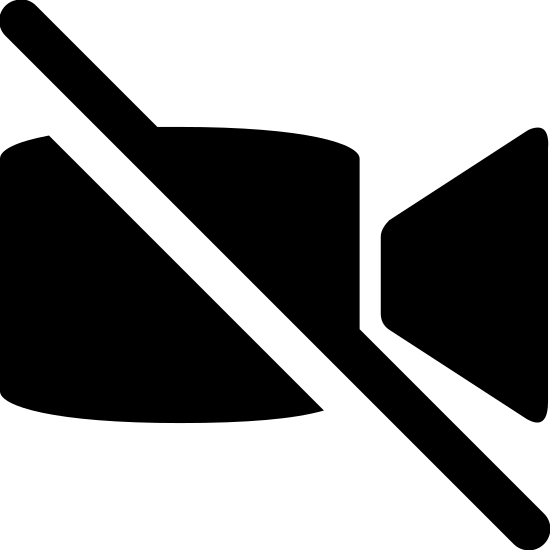 Brak obrazu icon. This icon for no video is a video camera with a diagonal line slashed from left to right through the center of it. The camera is shown as a square. On the right side of the square is a trapezoid shape, with the smaller end attached to the square.