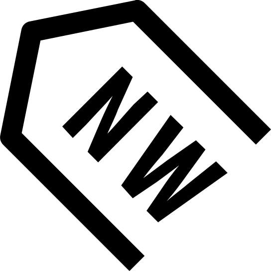 North West icon. It's a sign to point to the direction known as North West. The outer arrow shape is pointing diagonally to the upper left, similar to the position of 10 on a clock. There are the letters NW inside the arrow shape.