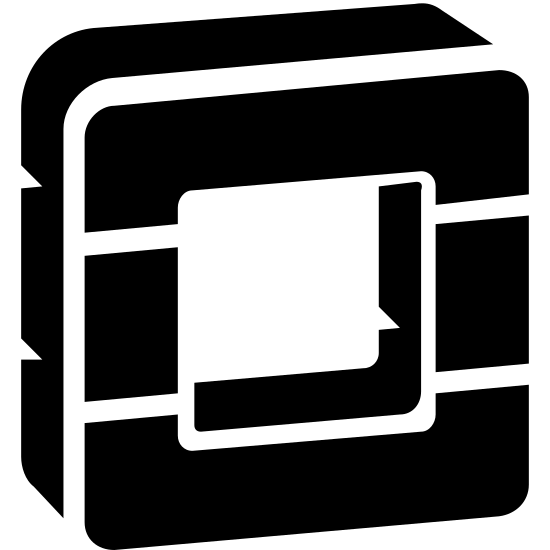 OpenStack icon. The icon resemble a three dimensional square shape with curved corners and a hollow center that is also the same shape. The square has two horizontal lines running through the middle top and middle bottom of it.