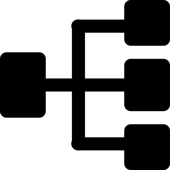Zadania równoległe icon. There is a small rounded square above three equally sized and shaped squares below it. There is a line connecting the top square directly to the one below and another line reaching from the top of the bottom left square crossing the middle line and connecting to the bottom right square.
