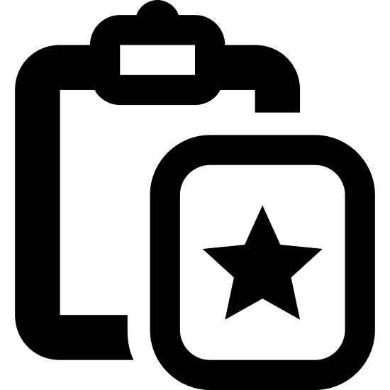 Wklej specjalnie icon. A paste special icon consists of two parts that are both rectangular shape. The first symbol is a clipboard to show that something is being paste or copied down. The second part of the image is to represent that it is special, which will be a rectangle with a star in the middle.