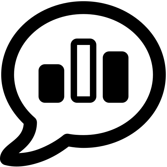 Poll icon. This is a picture of a quotation bubble with three bars in the middle. The bars are lined up next to each other, as if to show the differences in their sizes. The middle bar is the shortest, the left side is medium, with the right bar being the tallest.