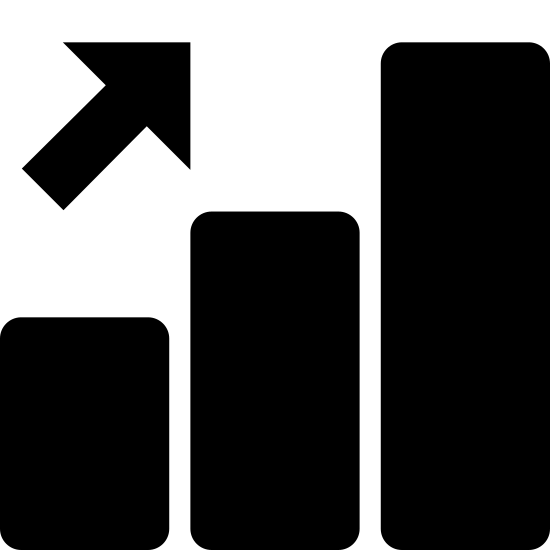 Dynamique positive icon. This is a black and white outline of three bars arranged by size from smallest to largest. There is a black arrow pointing in a upwards fashion to the right, showing the progress of the bars.