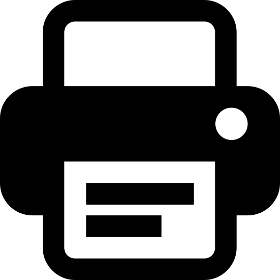 Print icon. The icon is a stylized printer. It is composed of three different sized rectangles stacked above each other. The bottom one represents the paper, the middle one represents the printer itself, and the top one represents a sheet of paper being inserted into the printer. The bottom paper has horizontal lines running across it to represent printed words.