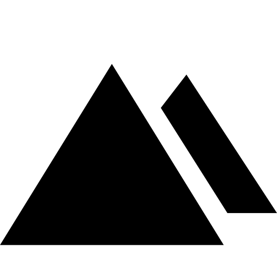 Pyramids icon. It's a logo of an equilateral triangle. Slightly tucked behind it on the right side is another equilateral triangle of slightly smaller size.