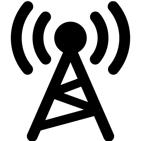 Tour de Radio icon. This is a triangular shaped icon depicting a radio tower. In the center of the triangle is a zig-zag shape indicating a metal support frame. At the top of the object is a point with radio waves emanating from the point.