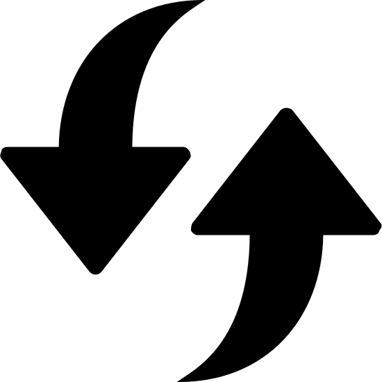 Aktualisieren icon. This is a photo of two arrows. One arrow is pointed down, the other is pointed up. The beginning of each arrow is straight, and then curves either upward or downward.