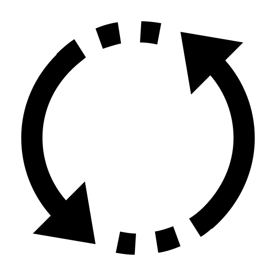 Zamień icon. It's a logo of two circular arrows which close back in on each other to make a circular design. The arrows are pointing counterclockwise with one head on the upper right and the other on the lower left. In front of each head are two dots before the other arrow starts.