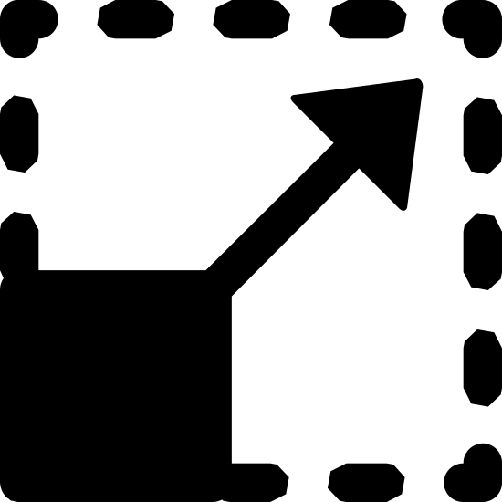 Zmień rozmiar icon. There is a square with a solid stroke with an arrow coming out of the top right corner, but all of this is enclosed in a larger square which has a dotted stroke, except for the bottom left quarter of the square, where the original square is solid.