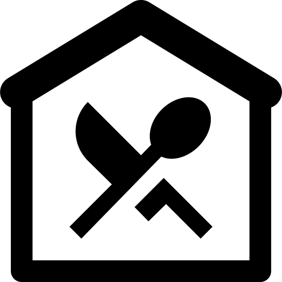 """Здание ресторана icon. The icon is a drawing. An enclosure is drawn using a single vertical line on the left and on the right and they are connected by a single horizontal line on the bottom.  The top is drawn with two lines that are about one-sixteenth of an inch apart and sloped up from each vertical line to a point in the middle.  This top part appears like a roof to the building that the other three lines produce. Inside the enclosure, there is a line drawing of a spoon with the handle down and the working end toward the roof.  The spoon is leaning to the right.  A drawing of a knife is shown behind the spoon and leaning to the left.  Together, they form an """"X""""  The spoon and knife do not touch the sides or tops of the enclosure."""