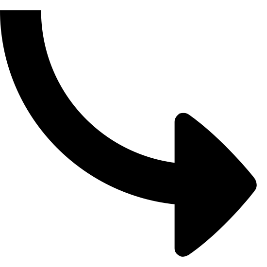 Curved Arrow icon. The icon is shaped like an arrow and it is pointing to the right hand side. The tail of the arrow is not straight, it curves up at the end of it.