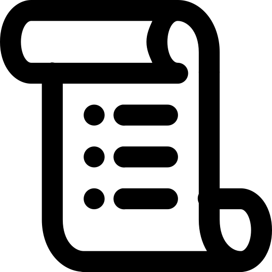 Zasady icon. Icon looks like a rectangle but the top side has been folded so that it overlaps the front and the bottom side has been folded so that it overlaps the back. in the middle of the shape, there are four identical, parallel horizontal lines. each line breaks off on the left, leaving a smaller, disjointed segment